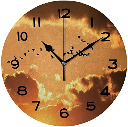 77 xiochgzish Reloj de Pared, pájaros de 10 Pulgadas, una bandada de Gansos canadienses migratorios...