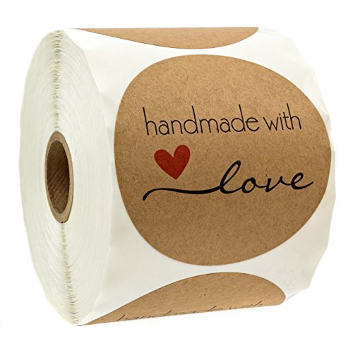 """3"""" Inch Round Natural Kraft Handmade with Love Stickers / 500 Labels per roll"""