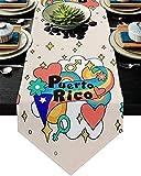 Camino de mesa de cocina de arpillera,arcoíris gay,bandera nacional de Puerto Rico,ilustración,bufandas antideslizantes para tocador para cena familiar,fiesta,decoración del hogar,13 x 70 pulgadas