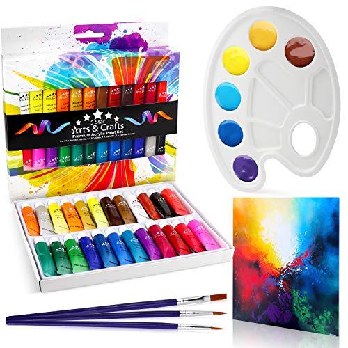 The Glowhouse Premium Acrylfarben Set 29 teiliges Set mit 24 ungiftigen Farben auf Wasserbasis und lebendigen Farben in Premium-Qualität, 3 Pinsel, 1 Palette und 1 Leinwand.