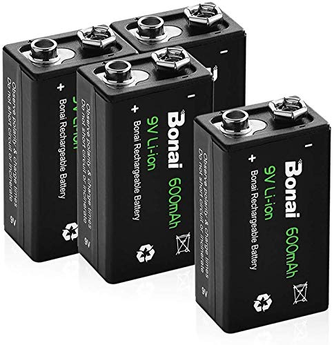 BONAI 9v Batteria Ricaricabile Ultra-Efficiente, 600mAh pile Ricaricabili Stilo 9V (Pre-caricate, 1200 cicli, Litio) 4 Pezzi