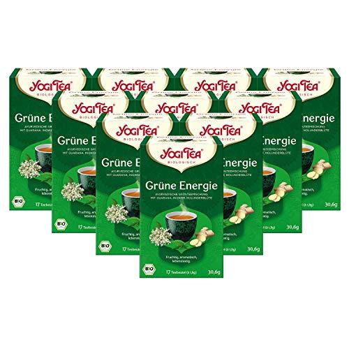 Yogi Tee 10x Grüne Energie Bio YOGI TEA® I erfrischende ayurvedische Grün-Tee-Mischung - mit Guarana Kombucha Holunder-Blüte I 170 Tee-Beutel - echte Bio-Qualität I Grüner Tee 10 Päckchen