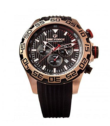 TIME FORCE Reloj Cronógrafo para Hombre de Cuarzo con Correa en Caucho TFA5009MAR01S01