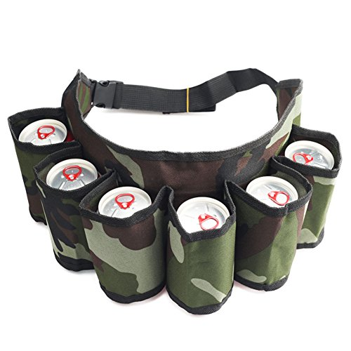 ShenYo bier en frisdrank kan Holster riem, leger Camouflage verstelbare 6-pack houder Gag geschenk, perfect voor blikjes en flessen op feestjes wandelen reizen