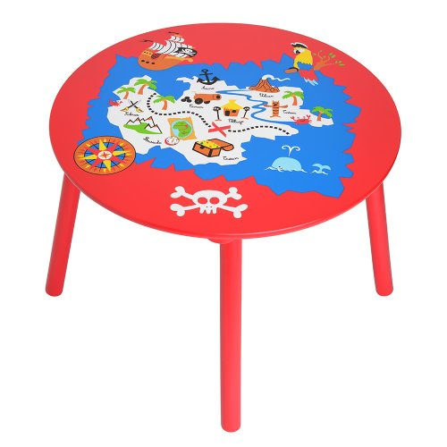 La Chaise Longue 33-1E-018 Table Enfant Pirate Rouge et multicolore Bois D 43,5cm x H 60 cm