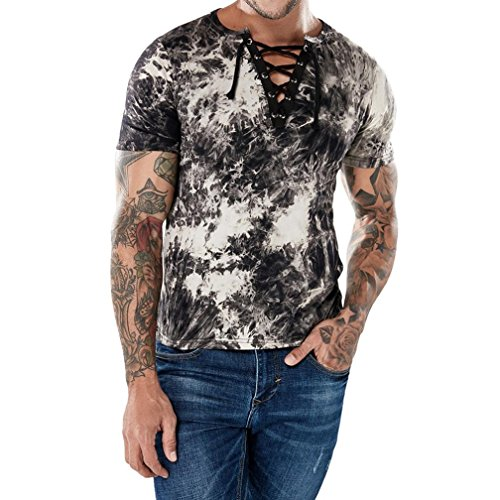 NEARTIME Men Short Shirt, 2018 New Hot Fashion Personality Casual Slim Short Sleeve T-Shirt V- Neck Top Print Bandage Blouse (M, Coffee)
