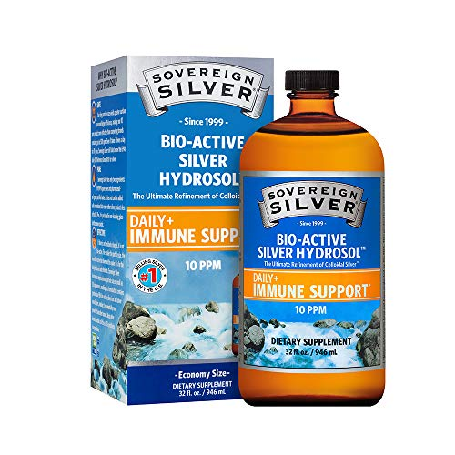Sovereign Silver Bio-Active Silver Hydrosol for Immune Support - Colloidal Silver -10 ppm, 32oz (946mL) - Economy Size