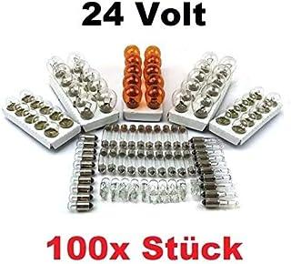100x St   24V LKW Nfz AUTO LAMPEN SET   10x P21/5W + 10x P21W + 10x PY21W + R5W (BA15s) + R5W (BA15d) + 10x R10W + 10x W5W + 10x W3W + 10x C5W SV8.5 (11x41) + 10x) + BA9s (T4W) Glühlampe Prüfzeichen