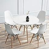 YJIIJY Mesa de Comedor Redonda 70 cm Mesas de Cocina Nordica para 2 a 4 Personas (Blanco)