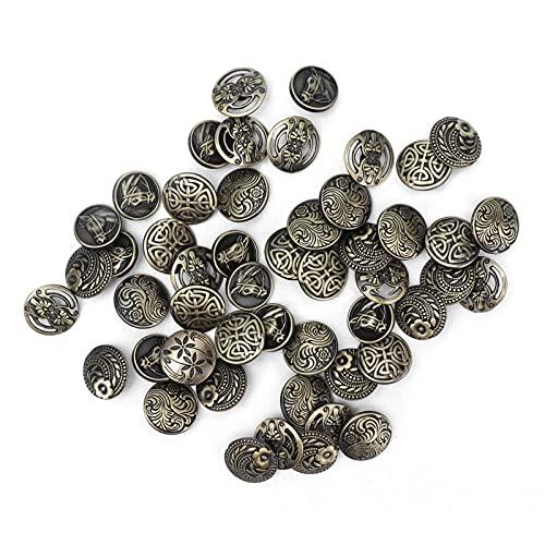 50 Piezas Botón de Vástago de Metal Bronce Antiguo Botones Tallados de Un Solo Orificio Accesorios de Costura de Cierre Decorativo Retro Para Chaquetas de Abrigo de Traje