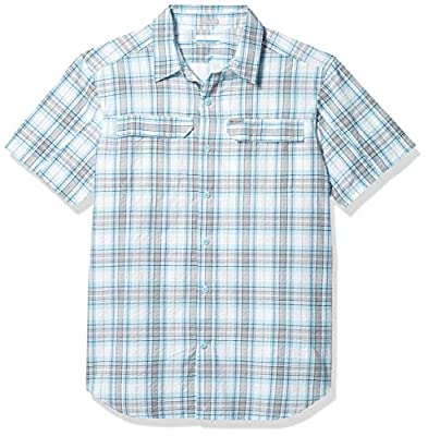 Columbia Men's Silver Ridge Short Sleeve Seesucker Shirt, Moisture Wicking, Sun Protection