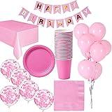 Cebelle Rose, decorazioni per festa di compleanno per 16 ospiti, rivestimento in tovaglia, 16 tazze, 16 piatti, 16 tovaglioli, 16 striscioni di buon compleanno