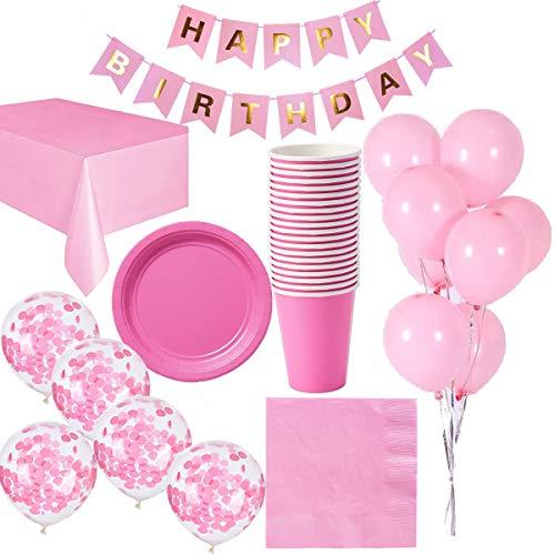 Cebelle Rosa Partydeko Geburtstag Geschirr für 16 Gäste, Tischdecke, 16 Tassen, 16 Teller, 16 Servietten, Banner Happy Birthday, 15 Luftballons
