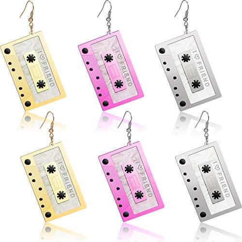 3 Paare 80er Jahre Cassette Tape Ohrringe Retro Tape baumeln Ohrringe Lustige Ohrringe für Frauen Zubehör