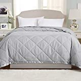 Lightweight King Goose Down Alternative Quilted Blanket with Satin Trim. Romana Collection by Great Bay Home, High Rise Grey
