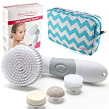 Waterproof Facial Brush Cleansing System for Face & Body. Rotating Spin Heads Best To Exfoliate & Scrub Skin, Remove Blackheads, Pore Cleanser, and Acne Reducer. 6 Piece Microdermabrasion Brushes Set