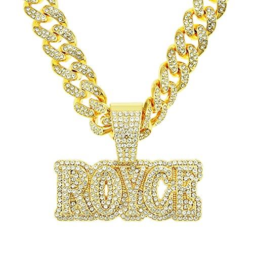 RXSHOUSH Collar de Hip Hop Letra Royce Colgante Hombres y Femeninos Rhinestone Completo Zircon 20 Pulgadas Cadena Cubana Dorado Dominio Colgante Colgante