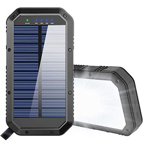 FKANT Batería Externa Móvil 25000mAh, Cargador Solar Carga Rápida Powerbank con 3 Salidas USB, Power Bank Solar Linterna 36 LED Cargador Solar Portatil para Smartphones, Tabletas y Viajes Campamento