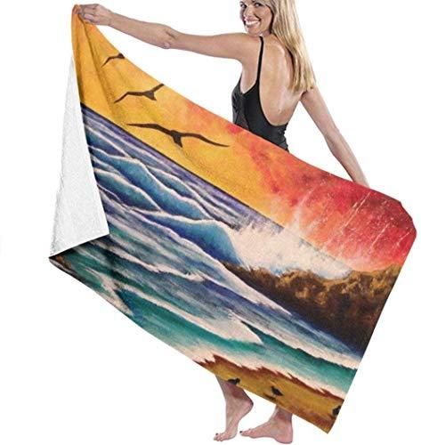 Toalla De Playa Microfibra,Pájaro De La Playa De Surf Anti-Arena,Fuerte Absorción De Agua Súper Blando Y Secado Rápido,para Deportes,Viajes,Natación,Playa,Yoga O Baño 130×80cm