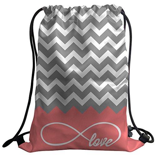 Violetpos Coutume Mode Unisexe Sac de gym Sac à dos Sac de sport Gym Bag classique gris Chevron Symbole Infini Amour