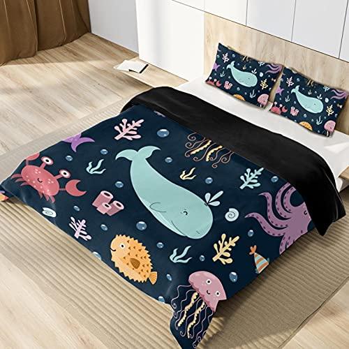 Juego de funda de edredón subacuática de microfibra suave y ligera, tamaño individual, juego de ropa de cama para adolescentes, niños y niñas