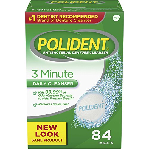 Polident Denture Cleaning Tablets, 3 minute triple mint antibacterial, 84 count (Pack of 3)