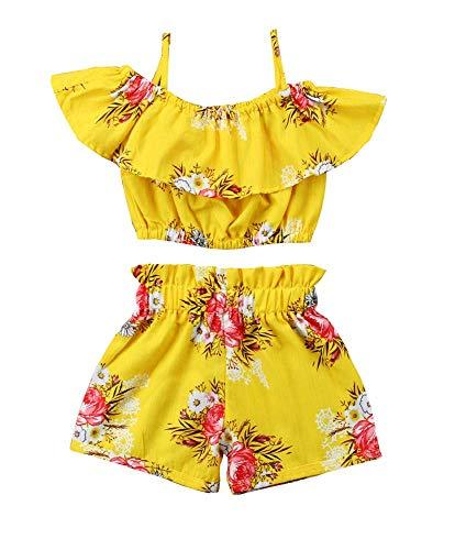 Pak - outfit - gecoördineerd - meisje - zomer - top - shirt - korte shorts - geel - bloemen - zee - strand - cadeau-idee