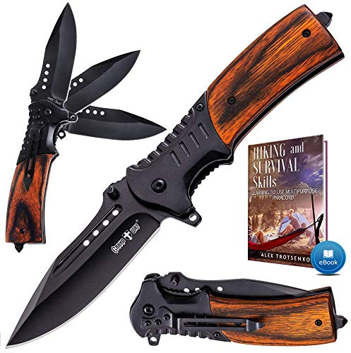 Pocket Knife Spring Assisted Folding Knives - Military EDC USMC Tactical Jack Knifes - Best Camping...