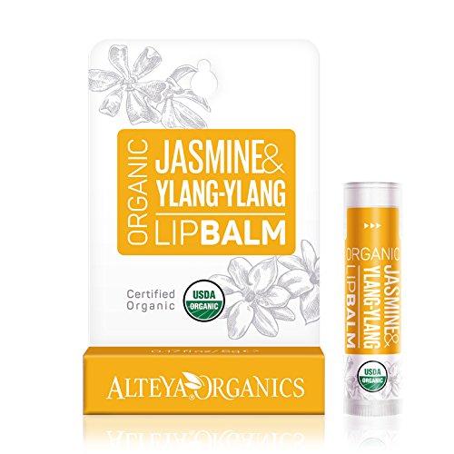 Alteya Organic Bálsamo Labial de Jazmín y Ylang-Ylang 4.5 gr – USDA Certificado Orgánico Producto para Cuidado Labial Basado en Aceites Esenciales Hidratantes y Mantequillas Botánicas Nutritivas