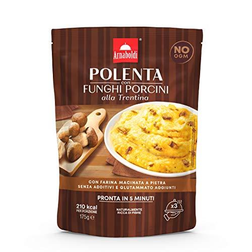 Arnaboldi Polenta con Funghi Porcini alla Trentina Senza Glutine [4 Confezioni da 175g]
