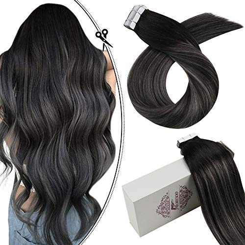 Moresoo 24 Inch Remy Hair Extensions Tape in Remy Human Hair Extensions Full Head Set Balayage Ombre Color #1B Off Black to Silver 40pcs/100g Hair Extensions Real Human Hair Tape on Hair Extensions