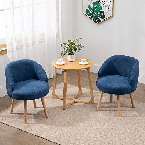 Set of 2 Small Accent Tub Chairs Occasional Lounge Sofa for Living Room Bedroom, Upholstered Fabric with Solid Wood Legs (Blue)