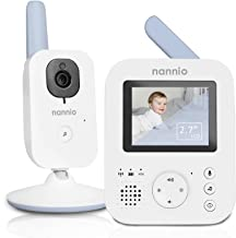 nannio Hero2 Video Baby Monitor with Camera and Audio, Two-way Talk, Auto Night Vision, Voice Activation (VOX), 5 Lullabie...