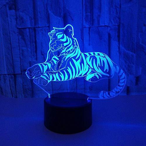 Tiger 3D Nachtlicht, Mit Fernbedienung Und 7 Farb Touch Und Dimmbaren Funktionen, Led Optische Illusionslampe, USB Aufladen Deko Schreibtisch Tischlampe, Für Kinder Schlafzimmer Dekoration-Acrylbasis
