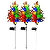 Tiemahun [ 3 Pack - Solar Christmas Decoration Stake Lights, IP65 Waterproof Outdoor Solar Garden Lights with Pine Tree, Multicolor Changing Solar Decorative Lights for Garden, Patio