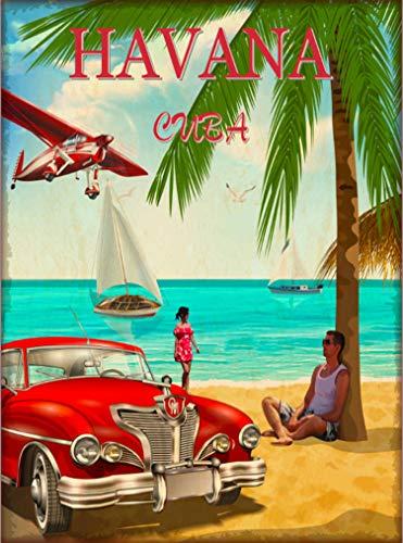Havana Cuba Habana Cuban Caribbean Island Retro Travel Home Collectible Wall Decor Advertisement Art Poster Print. 10 x 13.5 inches