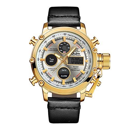 YIBOKANG Moda para Hombres Casual Deportes LED Calendario Timbriento Impermeable Cuarzo Doble Dual Core Watch Actividad De Moda con Reloj De Regalo (Color : 1)