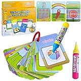 BBLIKE - Juego de lápices de colores para acuarela, diseño de número de colores, 2 bolígrafos mágicos de agua, juguete de dibujo para niños pequeños (26 tarjetas)