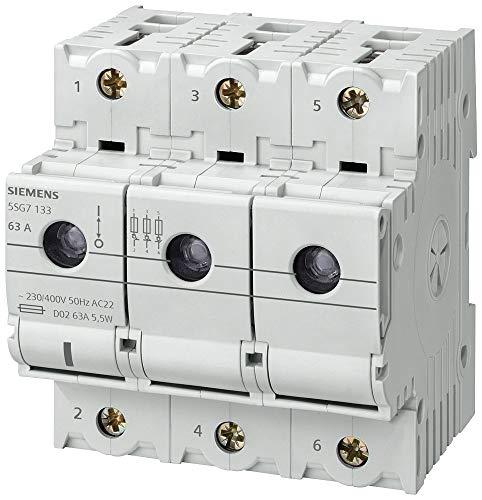 Siemens 5SG7133 MINIZED, Schalttrenner mit Sicherung, D02, 3-polig, In: 63A, Un AC: 400 V, Weiß