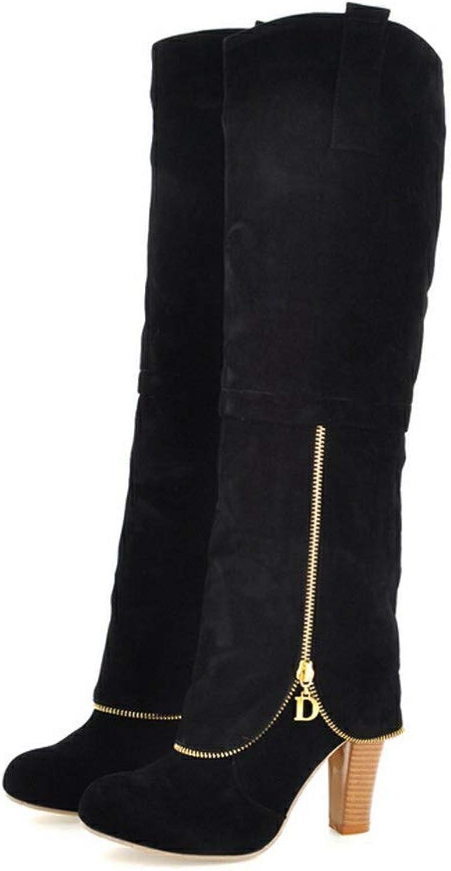 Hoxekle Knee High Boot High Heel Women Winter Faxu Suede Fashion Winter Ladies Long Boots Zipper Casual shoes