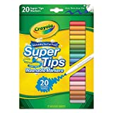 Crayola 588106 Washable Super Tips Markers, Assorted, 20/Set