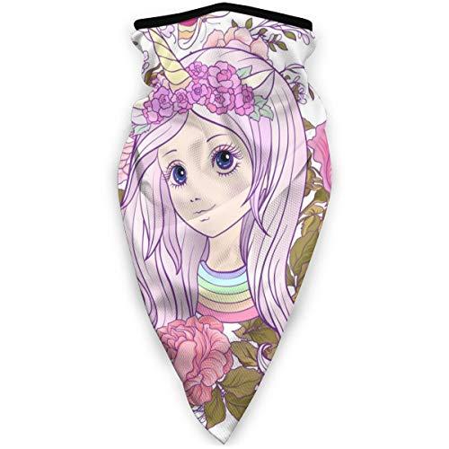 Mooi Meisje In Een Eenhoorn Cap In Een Rose Tuin Winddicht Gezichtsmasker Verstelbare Gezichtshoofd Warmer Voor Outdoor Sport Multifunctionele Hoofddeksels