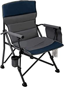 Pacific Pass Easy Carry Full Back Padded Premium Quad Chair with Storage Bag and Cup Holder for Outdoor and Camping, Carry Bag Included, Supports 400lbs