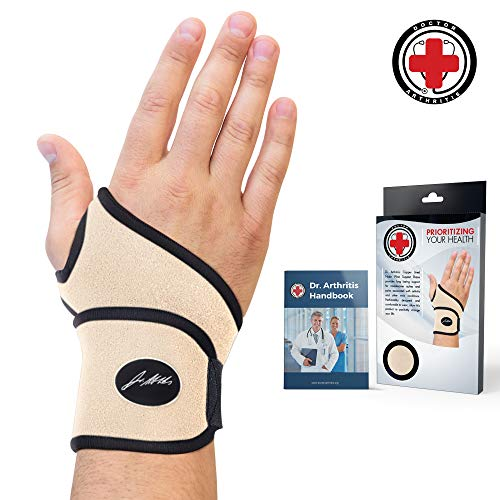 Doctor Developed Premium Nude Wrist Support/Wrist Strap/Wrist Brace/Hand Support [Single] & Doctor Written Handbook— Relief for Wrist Injuries, Joint Disease, Sprains & More (Nude)