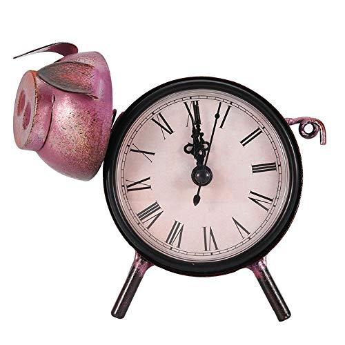 Wifehelper retro stijl horloge, ouderwetse decoratieve bureauklok handgemaakt horloge metalen varken beeld klok voor thuis slaapkamer