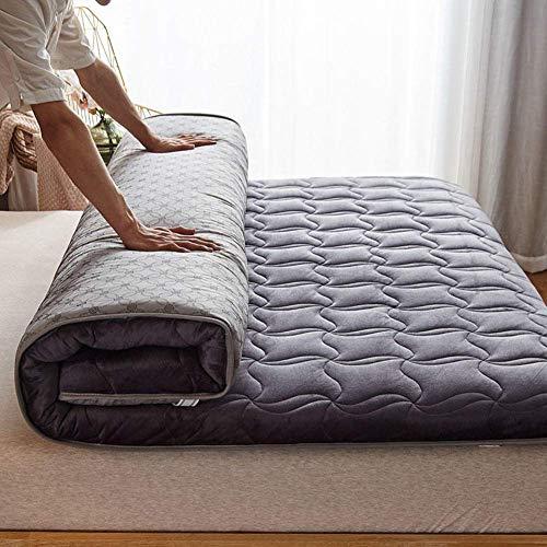 Verdickte Flanell-Matratzenauflage, Schwamm Faltbare Roll-Up-Schlafunterstützende und druckentlastende atmungsaktive Matratze Für Tatami-Grau 120 x 200 cm (47 x 79 Zoll)