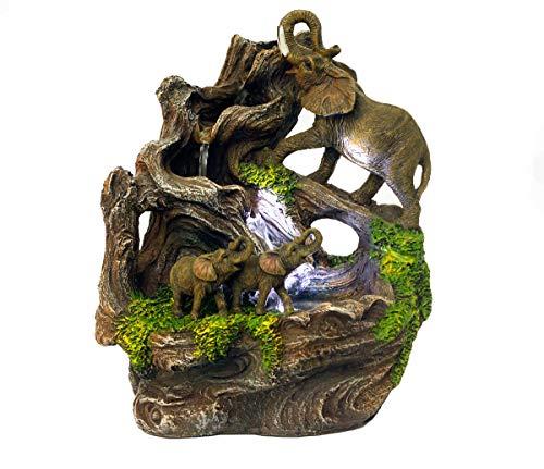 Arnusa Zimmerbrunnen Elefant mit Beleuchtung Springbrunnen Dekoration Zierbrunnen