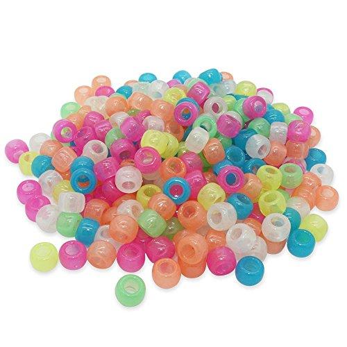 Beads Unlimited Im Dunkeln leuchtende Perlen, blau, 6mm x 8mm, Plastik, Mix, 6 x 8 mm