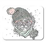 Alfrombrillas Ratón Lindo Cachorro con Sombrero Y Gafas De Sol Pedigree Dog Yorkshire Decor Office Respaldo De Goma Antideslizante Mousepad Alfombrilla De Ratón Gaming Mouse Pad 25X30Cm