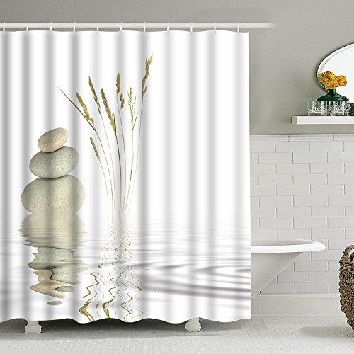 Alishomtll Duschvorhang Textil Duschvorhang Stoff mit Ringen 175x178cm, Welle Duschvorhang Badewanne 3D Digitaldruck Polyester Anti Schimmel Waschbar, Weiß